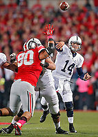 Penn State Nittany Lions quarterback Christian Hackenberg (14) drops back for a pass against Ohio State Buckeyes in the 1st quarter at Ohio Stadium on October 26, 2013.  (Dispatch photo by Kyle Robertson)