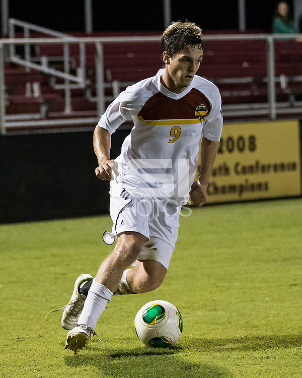 The Winthrop University Eagles played the College of Charleston Cougars at Eagles Field in Rock Hill, SC.  College of Charleston broke the 1-1 tie with a goal in the 88th minute to win 2-1.  Mason Lavallet (9)