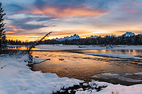 Winter sunset at the Snake  River in Grand Teton National Park<br />