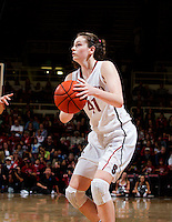 Stanford's Bonnie Samuelson, looks for an open player during Stanford women's basketball  vs Washington State at Maples Pavilion, Stanford, California on March 1, 2014.