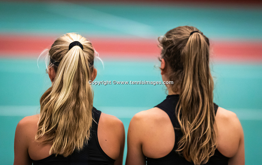 Wateringen, The Netherlands, December 15,  2019, De Rhijenhof , NOJK juniors doubles , Final girls 14  years, Isis van den Broek (NED) and Nina Kwakman (NED) (L) during changeover<br /> Photo: www.tennisimages.com/Henk Koster