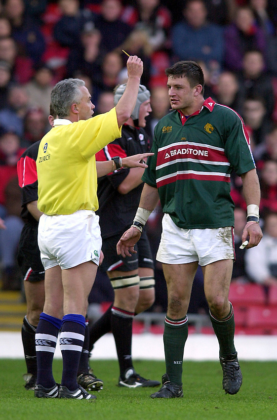 Photo. Richard Lane. .Saracens v Leicester Tigers. Zurich Premiership. 27-10-2002.Martin Corry is sent to the sin bin by referee, Alun Lewis.