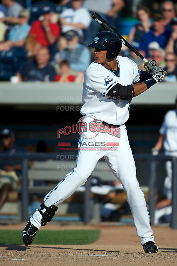 West Michigan Whitecaps Steven Moya #21 during a game against the Bowling Green Hot Rods at Fifth Third Ballpark on June 26, 2012 in Comstock Park, Michigan.  West Michigan defeated Bowling Green 13-11.  (Mike Janes/Four Seam Images)