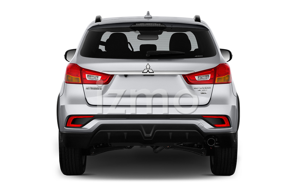 Straight rear view of a 2018 Mitsubishi Outlander Sport SEL 5 Door SUV stock images