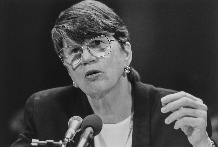 Close-up of Janet Reno in February 1994. (Photo by Chris Martin/CQ Roll Call via Getty Images)