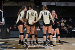 The Wake Forest Demon Deacons huddle up during the match against the USC Upstate Spartans in the LJVM Coliseum on September 9, 2017 in Winston-Salem, North Carolina.  The Demon Deacons defeated the Spartans 3-2.   (Brian Westerholt/Sports On Film)