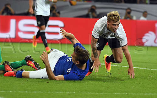 31.08.2016 Moenchengladbach, Germany. International football freindly. Germany versus Finland. Goal for 1:0 from Max Meyer (DFB) past Jukka Raitala (Finland)