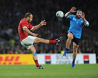 Frédéric Michalak of France clears as Matias Aguero of Italy attempts to block during Match 5 of the Rugby World Cup 2015 between France and Italy - 19/09/2015 - Twickenham Stadium, London <br /> Mandatory Credit: Rob Munro/Stewart Communications