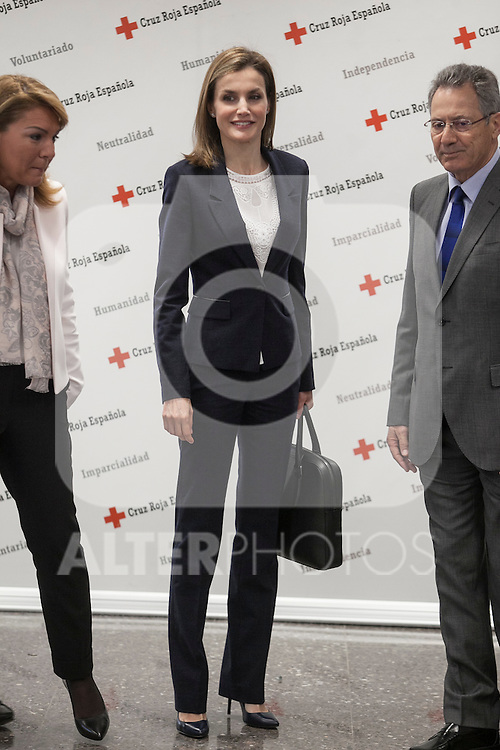 Queen Letizia of Spain attends a Spanish Red Cross working meeting in Madrid, Spain. April 07, 2015. (ALTERPHOTOS/Victor Blanco)