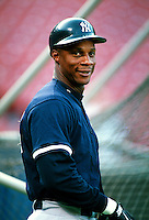 Darryl Strawberry of the New York Yankees during a game at Anaheim Stadium in Anaheim, California during the 1997 season.(Larry Goren/Four Seam Images)