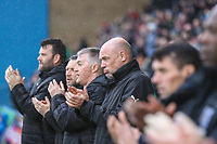 Uwe Rosler (Manager) of Fleetwood Town (centre) during a minutes applause for Jimmy Armfield ahead of the Sky Bet League 1 match between Gillingham and Fleetwood Town at the MEMS Priestfield Stadium, Gillingham, England on 27 January 2018. Photo by David Horn.