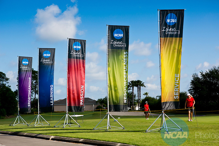 18 MAY 2013:  NCAA banners frame Barry University players during the Division II Women's Golf Championship held at the LPGA International Golf Course in Daytona Beach, FL.  Lynn University shot a +17 to win the national title by 3 strokes.  Matt Marriott/NCAA Photos