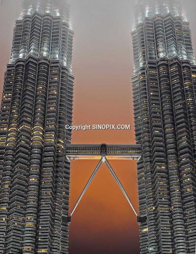 The sky bridge at the Petronas Towers, Kuala Lumpur, Malaysia,<br /> 02-Nov-11