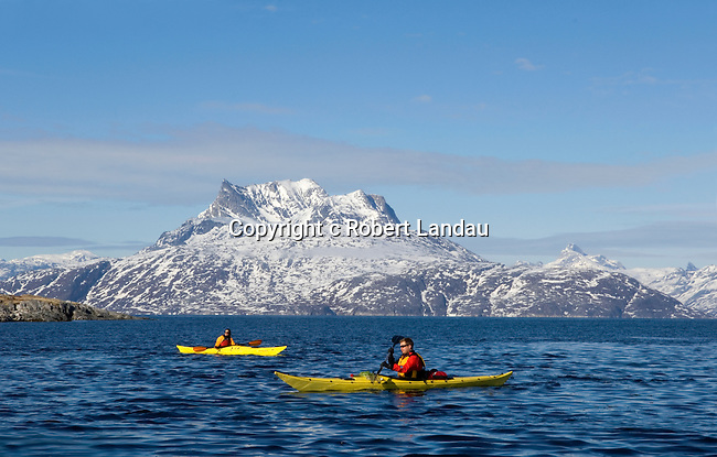 Kayaking in the waterways near Nuuk, Greenland
