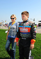 Sept. 28, 2008; Kansas City, KS, USA; Nascar Sprint Cup Series driver Scott rigs with his wife prior to the Camping World RV 400 at Kansas Speedway. Mandatory Credit: Mark J. Rebilas-