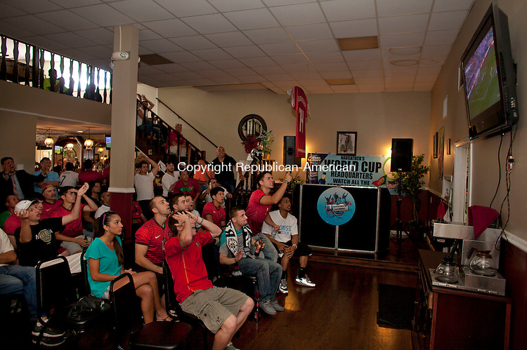 Naugatuck, CT-16 June 2014-061614BF02-  Portugal fans react to the play of their team while watching the game inside Santos Restaurant on Church Street in Naugatuck Monday afternoon. It was a standing room only crowd who showed up to support the team who were defeated by Germany 4-0 in Group G play at Arena Fonte Nova, in Salvador, Brazil.  Bob Falcetti Republican-American