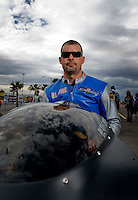 Oct. 31, 2008; Las Vegas, NV, USA: NHRA pro stock motorcycle rider Blaine Hale during qualifying for the Las Vegas Nationals at The Strip in Las Vegas. Mandatory Credit: Mark J. Rebilas-