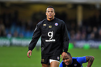 Anthony Watson of Bath Rugby looks on during the pre-match warm-up. European Rugby Champions Cup match, between Bath Rugby and Wasps on December 19, 2015 at the Recreation Ground in Bath, England. Photo by: Patrick Khachfe / Onside Images
