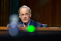 United States Senator Tom Carper (Democrat of Delaware) speaks during the United States Senate Committee on Finance hearing regarding the inspection process of foreign drug manufacturing on Capitol Hill in Washington D.C., U.S., on Tuesday, June 2, 2020.  Credit: Stefani Reynolds / CNP/AdMedia