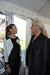 Dayana Mendoza (Miss Universe 2008) chats with Dee Snyder - both on Celebrity Apprentice - The 2012 Skating with the Stars - a benefit gala for Figure Skating in Harlem celebrating 15 years on April 2, 2012 at Central Park's Wollman Rink, New York City, New York.  (Photo by Sue Coflin/Max Photos)
