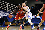 28 November 2014: Stony Brook's Jessica Ogunnorin (GRE) (3) and Duke's Rebecca Greenwell (right). The Duke University Blue Devils hosted the Stony Brook University Seahawks at Cameron Indoor Stadium in Durham, North Carolina in a 2014-15 NCAA Division I Women's Basketball game. Duke won the game 72-42.