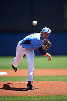 Charlotte Stone Crabs starting pitcher Greg Harris (27) delivers a pitch during a game against the Palm Beach Cardinals on April 10, 2016 at Charlotte Sports Park in Port Charlotte, Florida.  Palm Beach defeated Charlotte 4-1.  (Mike Janes/Four Seam Images)