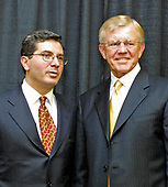 Washington Redskins owner Daniel M. Snyder, left, and head coach Joe Gibbs, right, pose for a photo following the press conference where it was announced Gibbs would be returning as head coach at Redskin Park in Ashburn, Virginia on January 8, 2004.  Gibbs previously worked as  the head coach of the Redskins from 1981 through 1992.<br /> Credit: Arnie Sachs / CNP