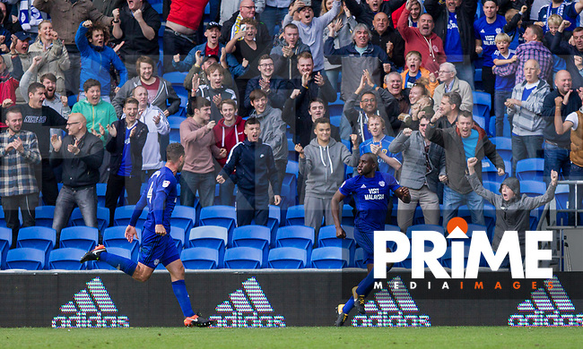 Sol Bamba of Cardiff City (right) celebrates scoring his side's last minute equaliser during the Sky Bet Championship match between Cardiff City and Sheffield Wednesday at Cardiff City Stadium, Cardiff, Wales on 16 September 2017. Photo by Mark  Hawkins / PRiME Media Images.
