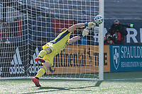 FOXBOROUGH, MA - MARCH 7: Brad Knighton #18 of New England Revolution during a game between Chicago Fire and New England Revolution at Gillette Stadium on March 7, 2020 in Foxborough, Massachusetts.