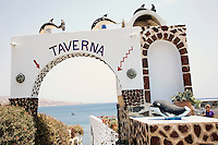 A restaurant at Akrotiri near the Red Beach in Santorini, Greece on July 7, 2013.