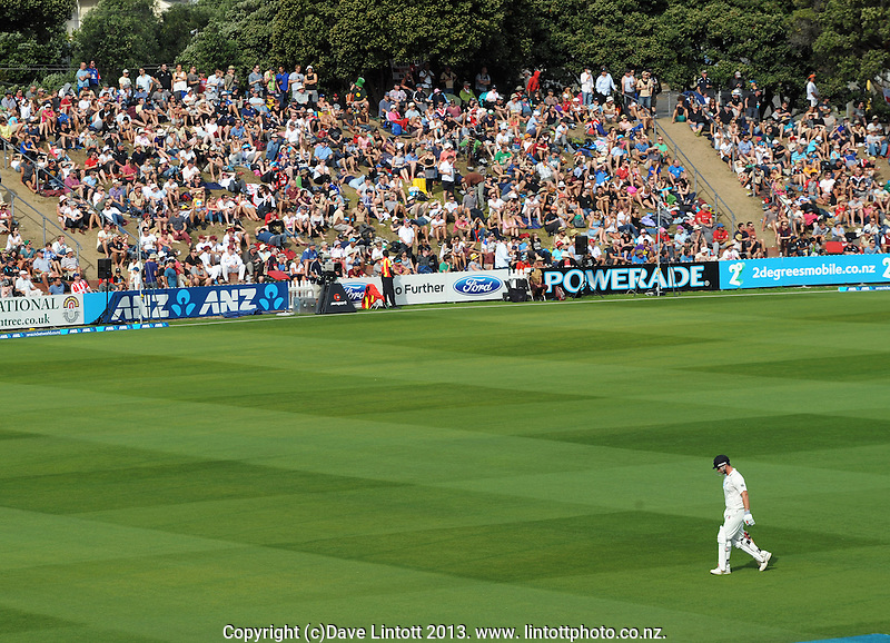 Hamish Rutherford walks back to the pavilion after his second-innings dismissal during day three of the 2nd cricket test match between the New Zealand Black Caps and England at the Hawkins Basin Reserve, Wellington, New Zealand on Saturday, 16 March 2013. Photo: Dave Lintott / lintottphoto.co.nz