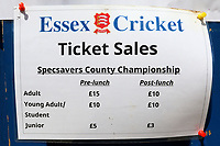 A sign shows reduced admission prices after 'lunch' during Essex CCC vs Middlesex CCC, Specsavers County Championship Division 1 Cricket at The Cloudfm County Ground on 26th June 2017