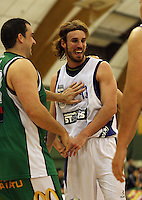 Manawatu's Ben Hill and Auckland's Casey Frank joke during the NBL Round 5 match between the Manawatu Jets  and Auckland Stars at Arena Manawatu, Palmerston North, New Zealand on Friday 10 April 2009. Photo: Dave Lintott / lintottphoto.co.nz