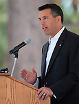 Nevada Gov. Brian Sandoval speaks at the Lake Tahoe Summit at Edgewood Tahoe in Stateline, Nev., on Monday, Aug. 13, 2012. The event, in its 16th year, brings political leaders from Nevada and California together to address issues related to preserving Lake Tahoe..Photo by Cathleen Allison