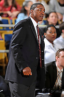 21 January 2012:  FIU Head Coach Isiah Thomas reacts to a call in the first half as the Florida Atlantic University Owls defeated the FIU Golden Panthers, 66-64, at the U.S. Century Bank Arena in Miami, Florida.