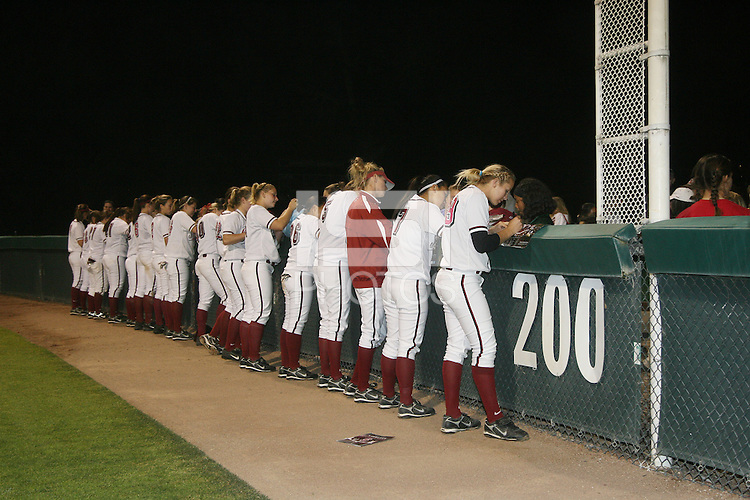 11 April 2008: Stanford Cardinal (not in order) Maddy Coon, Melisa Koutz, Alissa Haber, Ashley Chinn, Missy Penna, Becky McCullough, Autumn Albers, Rosey Neill, Michelle Smith, Erikka Moreno, Erin Howe, Jess Zutz, Tricia Aggabao, Brittany Minder, Michelle Schroeder, Shannon Koplitz, and Anna Beardman during Stanford's 10-1 win against the Oregon State Beavers at the Boyd and Jill Smith Family Stadium in Stanford, CA.