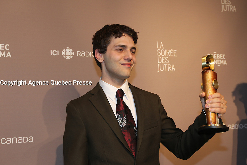FILE PHOTO -Xavier Dolan get an award at the JUTRA Gala, March 15, 2015<br /> <br /> PHOTO : Pierre Roussel - Agence Quebec Presse