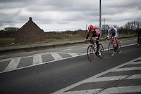 last year's winner Jelle Wallays (BEL/Lotto-Soudal) trying to bridge the gap to the front group<br /> <br /> 71st Dwars door Vlaanderen (1.HC)