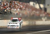 Nov 3, 2007; Pomona, CA, USA; NHRA funny car driver Ashley Force during qualifying for the Auto Club Finals at Auto Club Raceway at Pomona. Mandatory Credit: Mark J. Rebilas-US PRESSWIRE