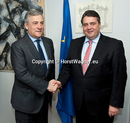 Brussels-Belgium - February 20, 2014 -- Sigmar GABRIEL (ri), Vice-Chancellor of Germany and Federal Minister for Economic Affairs and Energy, in Brussels for bilateral meetings and attendance of the EU-Council on Competitiveness; here, in the Berlaymont  / HQ of the EU-Commission, with Antonio TAJANI (le), European Commissioner in charge of Industry and Entrepreneurship, and Vice-President of the European Commission -- Photo: © HorstWagner.eu