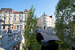 Slovenia, Ljubljana, Presernov Trg, central square, Triple Bridge, Ljubljanica River, old town, car-free environment, Baroque architecture, Europe,