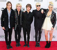LOS ANGELES, CA, USA - NOVEMBER 23: Rocky Lynch, Ross Lynch, Ellington Ratliff, Riker Lynch, Rydel Lynch, R5 arrive at the 2014 American Music Awards held at Nokia Theatre L.A. Live on November 23, 2014 in Los Angeles, California, United States. (Photo by Xavier Collin/Celebrity Monitor)