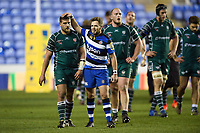 Darren Allinson of Bath Rugby comforts Dave Porecki of London Irish after the match. Aviva Premiership match, between London Irish and Bath Rugby on November 19, 2017 at the Madejski Stadium in Reading, England. Photo by: Patrick Khachfe / Onside Images