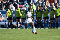 Cary, North Carolina - Sunday December 6, 2015: Toni Payne (10) of the Duke Blue Devils pushes the ball up the field during first half action against the Penn State Nittany Lions at the 2015 NCAA Women's College Cup at WakeMed Soccer Park.  The Nittany Lions defeated the Blue Devils 1-0.