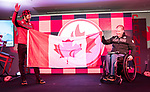 PyeongChang 8/3/2018 - Brian McKeever, of Canmore, AB, is introduced as Canada' flag bearer for the opening ceremony of the 2018 Winter Paralympic Games in Pyeongchang, Korea. Brian is introduced by Chef de Mission Todd Nicholson.  Photo: Dave Holland/Canadian Paralympic Committee