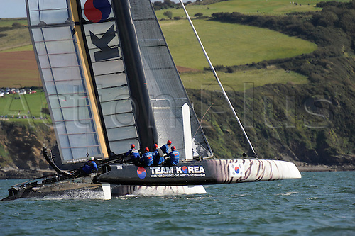 18.09.2011 Sailing Americas Cup World Series from Plymouth in the United Kingdom. Chris Draper (GBR) skipper,Team Korea (KOR),
