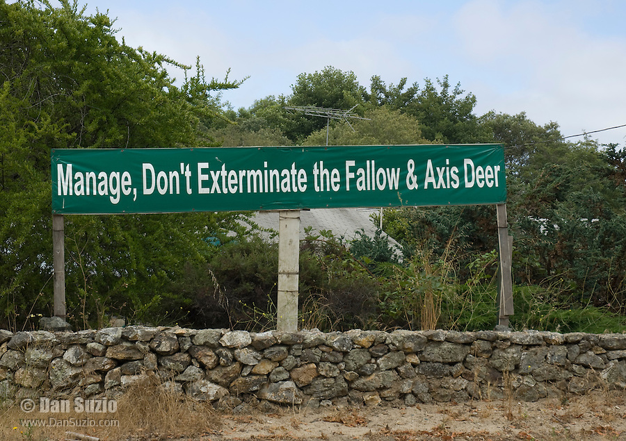 Sign near Point Reyes National Seashore, California, refers to the controversy over National Park Service plans to remove populations of non-native axis deer, Axis axis, and fallow deer, Dama dama, from the park.