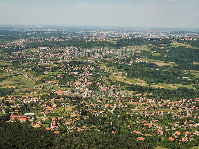 View of Belgrade and the surrounding area from the restaurant at the top of Avala TV broadcasting antenna tower, Belgrade, Serbia
