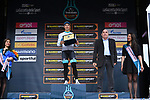 Kazak National Champion Alexey Lutsenko (KAZ) Astana Pro Team is awarded the &quot;Mealli Prize&quot; for the most aggressive rider, dedicated to the memory of the father of the Tirreno-Adriatico, Franco Mealli. On stage with Lutsenko is Ercole Mealli, son of Franco at the end of Stage 7 of the Race of the Two Seas, the 54th Tirreno-Adriatico 2019, an individual time trial running 10.1km around San Benedetto del Tronto, Italy. 19th March 2019.<br /> Picture: LaPresse/Gian Mattia D'Alberto | Cyclefile<br /> <br /> <br /> All photos usage must carry mandatory copyright credit (&copy; Cyclefile | LaPresse/Gian Mattia D'Alberto)
