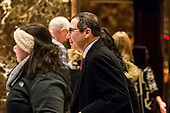 United States Secretary of the Treasury-designate Steven Mnuchin  is seen leaving an elevator in the lobby of Trump Tower in New York, NY, USA on January 3, 2017. <br /> Credit: Albin Lohr-Jones / Pool via CNP
